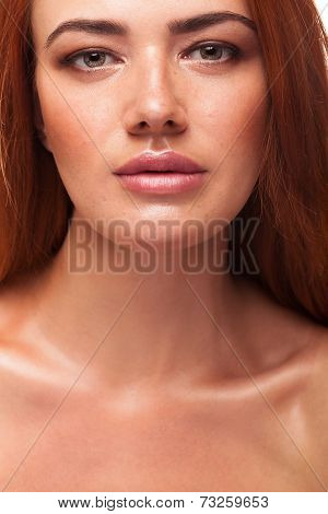 Gorgeous Red Head Gilr With Big Lips
