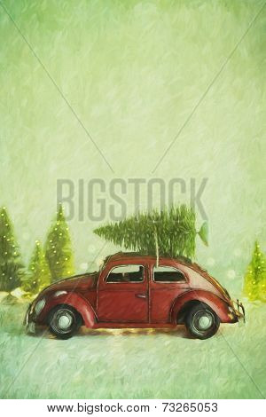 Small toy car with christmas tree on top