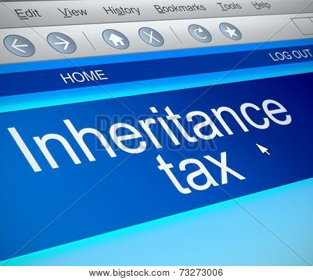 Illustration depicting a computer screen capture with an inheritance tax concept. poster