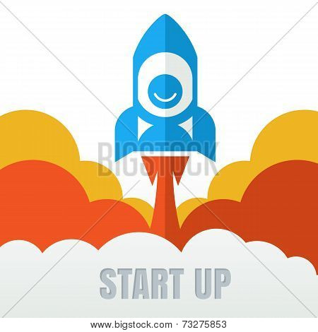 Rocket Launcher. Creative Business Start Up Concept . Vector Cartoon Illustration In Flat Style
