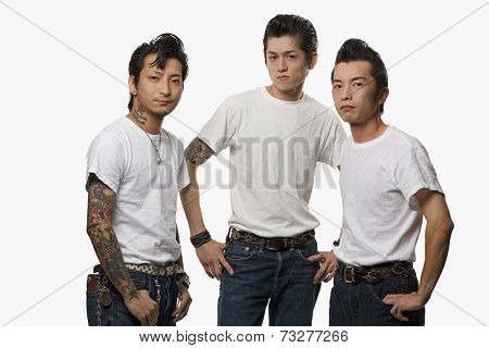 Asian men in rockabilly clothing