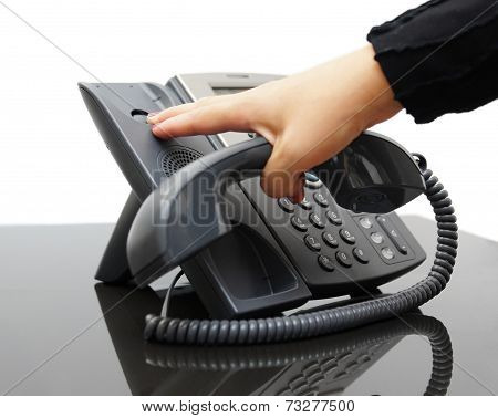 Woman Hanging Up The Phone