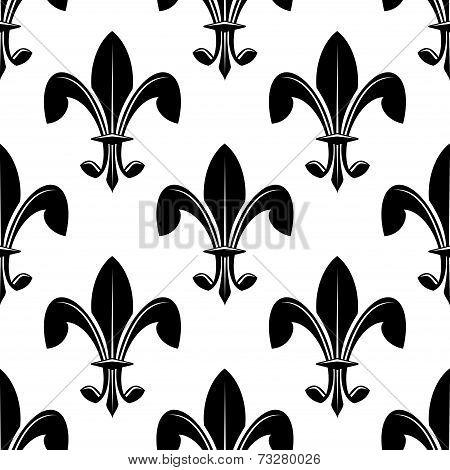 Black and white seamles fleur de lys pattern