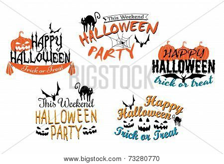 Halloween holiday party posters and banners
