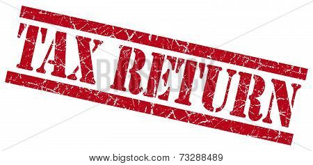 Tax Return Red Square Grunge Textured Isolated Stamp