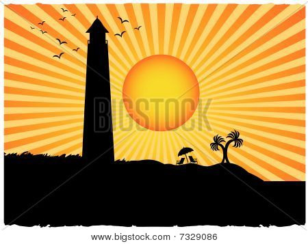 Silhouette lighthouse beach surrounded sunny rays grunge