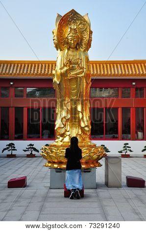 Woman praying to Buddha
