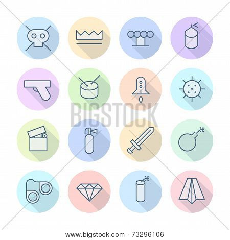 Thin Line Icons For Miscellaneous Items. Vector eps10. poster