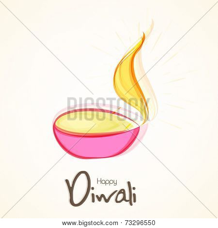 Illuminated oil lit lamp and stylish text of Happy Diwali for Diwali celebration on beige colour background.