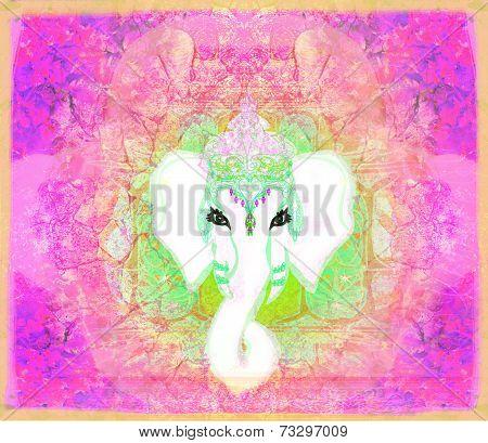 Creative illustration of Hindu Lord Ganesha elephant portrait , raster poster