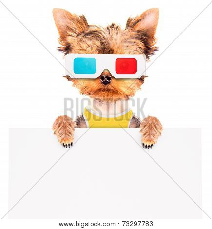 dog going to the movies holding white paper banner poster