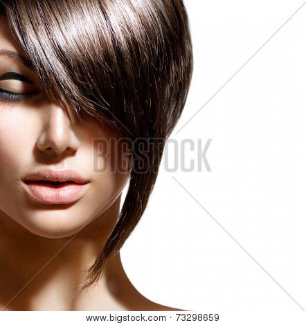 Fashion Haircut. Hairstyle. Stylish Fringe. Short Hair Style.  Beauty woman portrait with fashion trendy hair style   poster