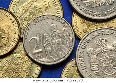 Coins of Serbia. Gracanica monastery in Kosovo depicted in Serbian two dinars coin.