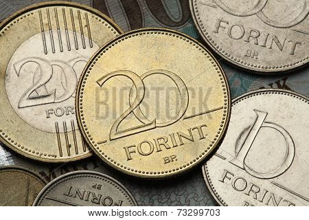Coins of Hungary. Hungarian twenty forint coin.