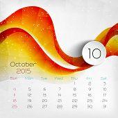 2015 Calendar. October. Vector illustration. EPS 10 poster