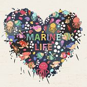 Marine life on the background of colorful blots inksthemed design with elements:fish turtleshellseaweedjellyfishcoralsea urchinsfish Hammerlobsterbubbles in the shape of heart with text poster