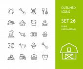 Outline icons thin flat design, modern line stroke style, web and mobile design element, objects and vector illustration icons set 26 - farm and farming collection poster