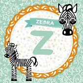 ABC animals Z is zebra. Childrens english alphabet. vector poster