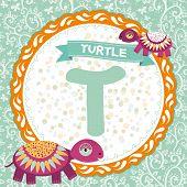 ABC animals T is turtle. Childrens english alphabet. poster