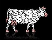 Cash cow composed of dollar symbols. Isolated vector illustration on black background. poster