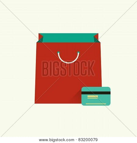 Vector Illustration Of Red Bag  For Shopping And Credit Card