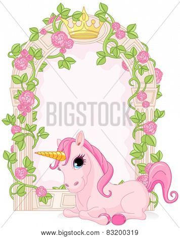 Romantic floral fairy tale frame with unicorn