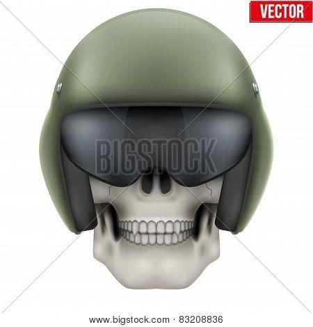 Human skull with Aircraft marshall helmet.