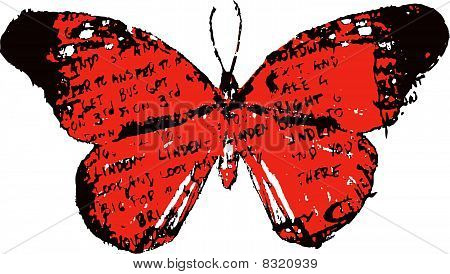 butterfly with grungy letter
