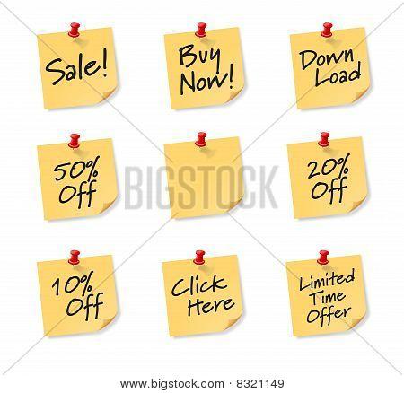Sales Sticky Notes on white