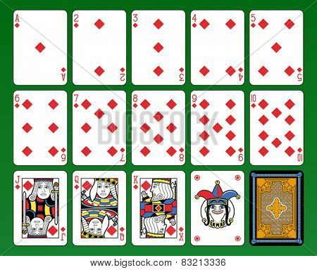 Playing cards, diamonds suite, joker and back. Green background.
