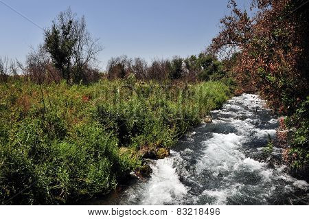 The Dan River located at the base of Mount Hermon Israel. poster