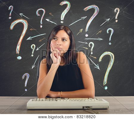 Businesswoman does the questions