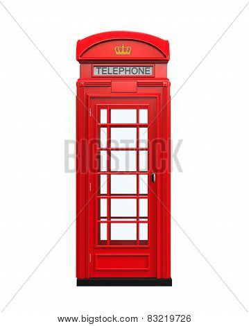 British Red Telephone Booth isolated on white background. 3D render poster