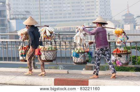 Street Vendors Over Bridge