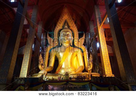 The Famous Large Sitting Buddha In Thai Temple.