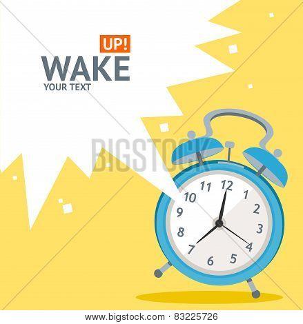 Vector blue wakeup clock card. Flat Design