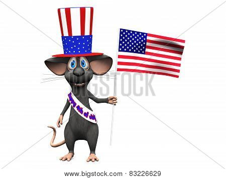 Smiling Cartoon Mouse Celebrating 4Th Of July Or Independence Day, Image Two.