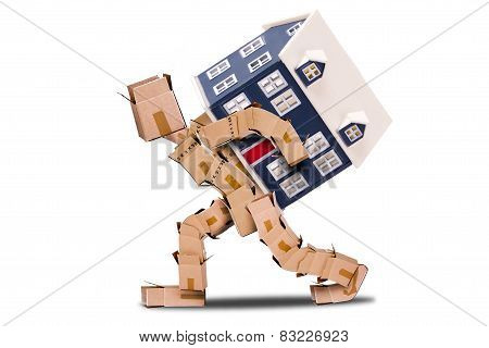 Man made of boxes carrying a house on his back with a white background poster