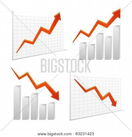Set Vector Chart Graph Positive, Negative Infographic
