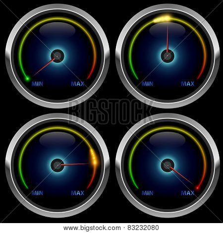 Colorful round meter gauge isolated on black background.