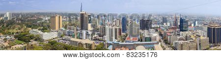 NAIROBI, KENYA-SEPTEMBER 17, 2014: An aerial 180 degree panorama of the downtown area of Nairobi, Kenya.