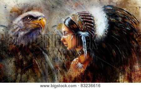 Beautiful Mystic Painting Of A Young Indian Woman Wearing A Big Feather Headdress, A Profile Portrai