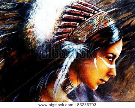 beautiful airbrush painting of a young indian woman wearing a big feather headdress a profile portrait on structured abstract background poster