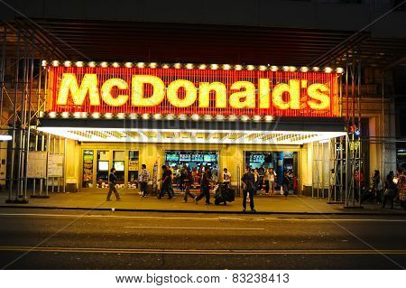 NEW-YORK, USA - SEPTEMBER 28, 2011: McDonals's restaurant facade. The McDonald's Corporation is the world's largest chain of hamburger fast food restaurants, serving around 68 million customers daily