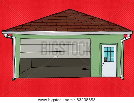 Broken Garage Door Over Red