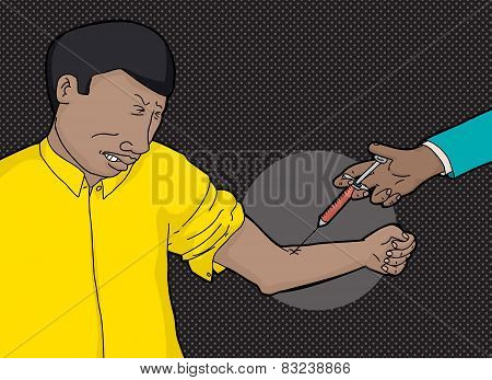 Man In Yellow Getting Blood Test