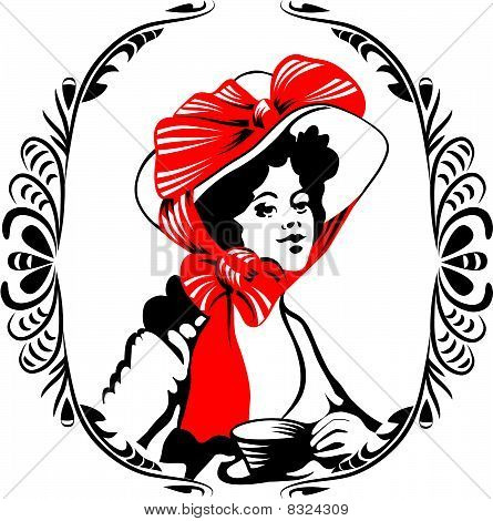 tea-time woman silhouette with ornament.
