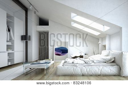 3D Rendering of Architectural Bedroom with Table and Cabinet Inside a White Modern House