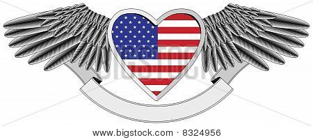 winged heart with the U.S. flag
