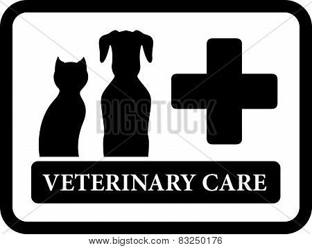 veterinary care icon on black frame